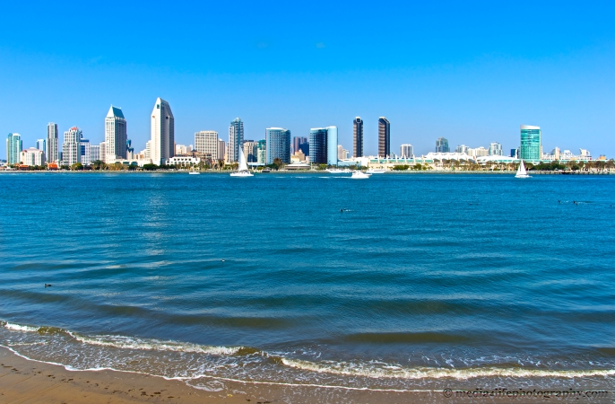 Downtown San Diego at low tide from Coronado