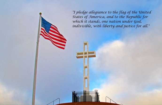 The American Flag and the Cross on top of Mt. Soledad