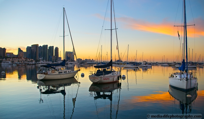 The San Diego Harbor, just before Sunrise